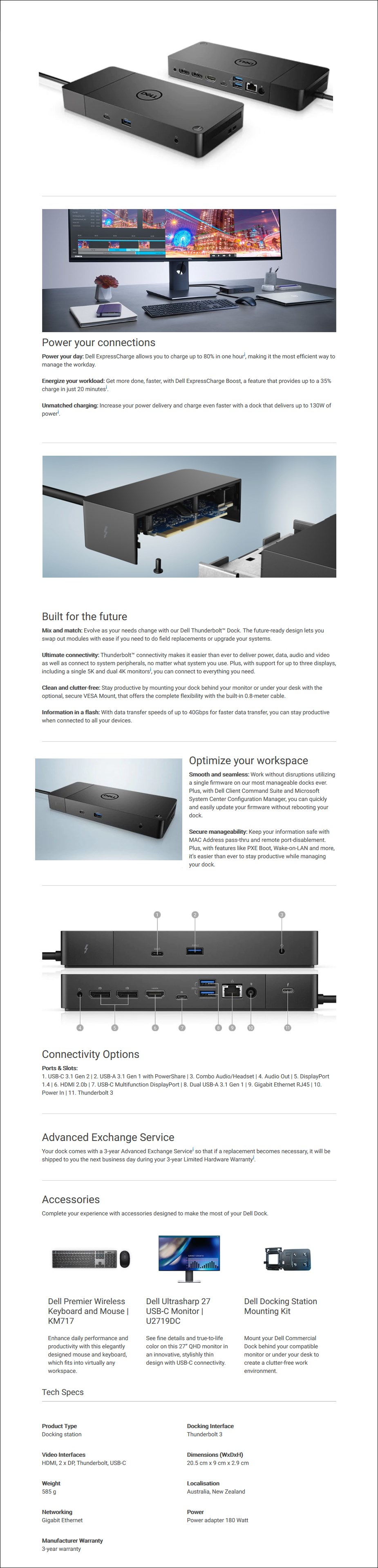 Dell WD19TB USB Type-C/Thunderbolt Docking Station - Overview 1
