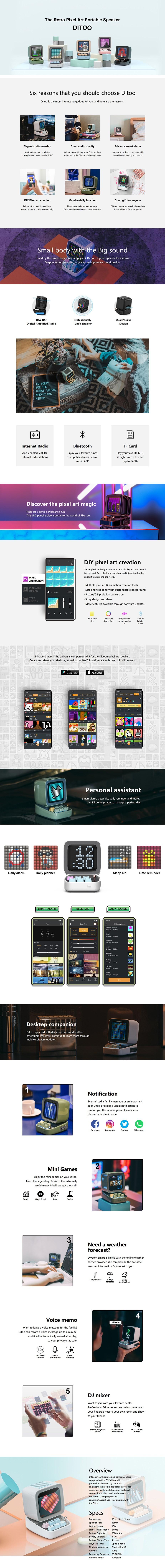 Divoom Ditoo Retro Pixel Art Portable Speaker - Overview 1