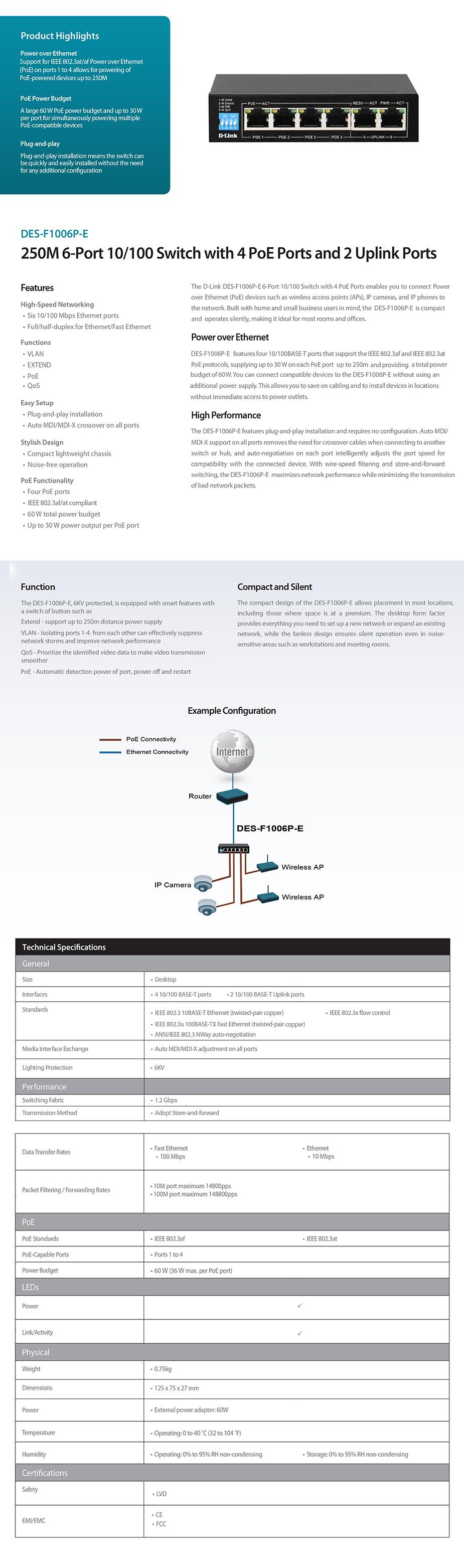 D-Link DES-F1006P-E 250M 6-Port 10/10 Switch with 4 PoE Ports/2 Uplink Ports - Overview 1
