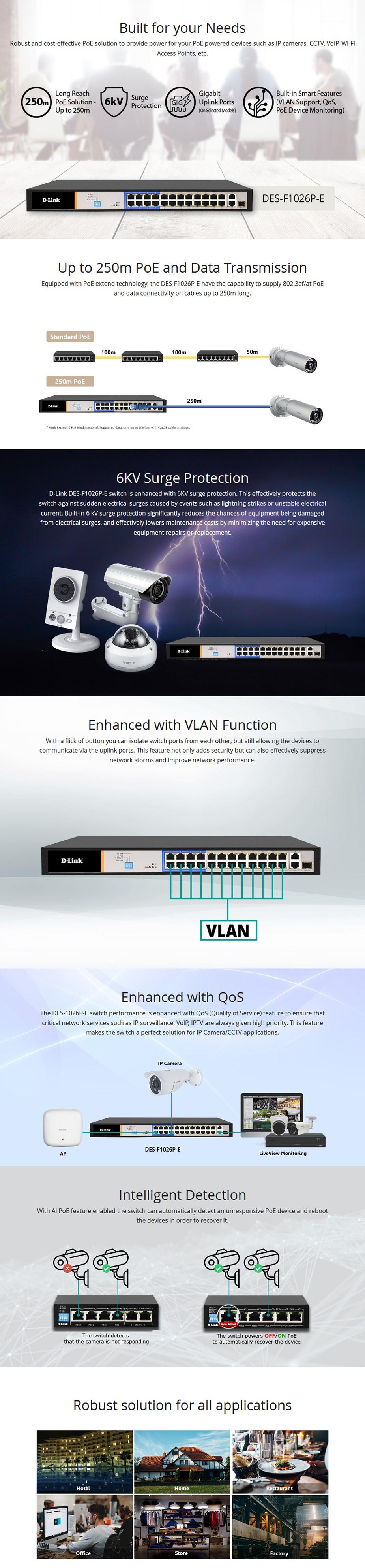 D-Link DES-F1026P-E 26-Port PoE Switch with 24 PoE Ports/2 Gigabit Uplink Ports - Overview 1
