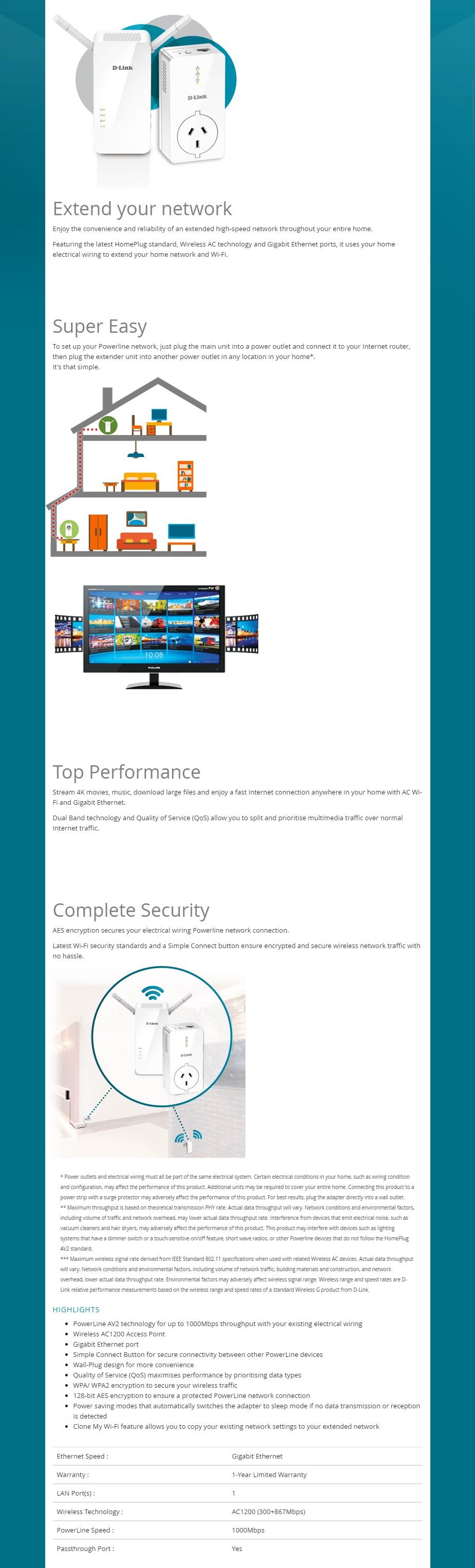 D-Link DHP-W611AV PowerLine AV2 1000 WiFi AC1200 Starter Kit - Overview 1