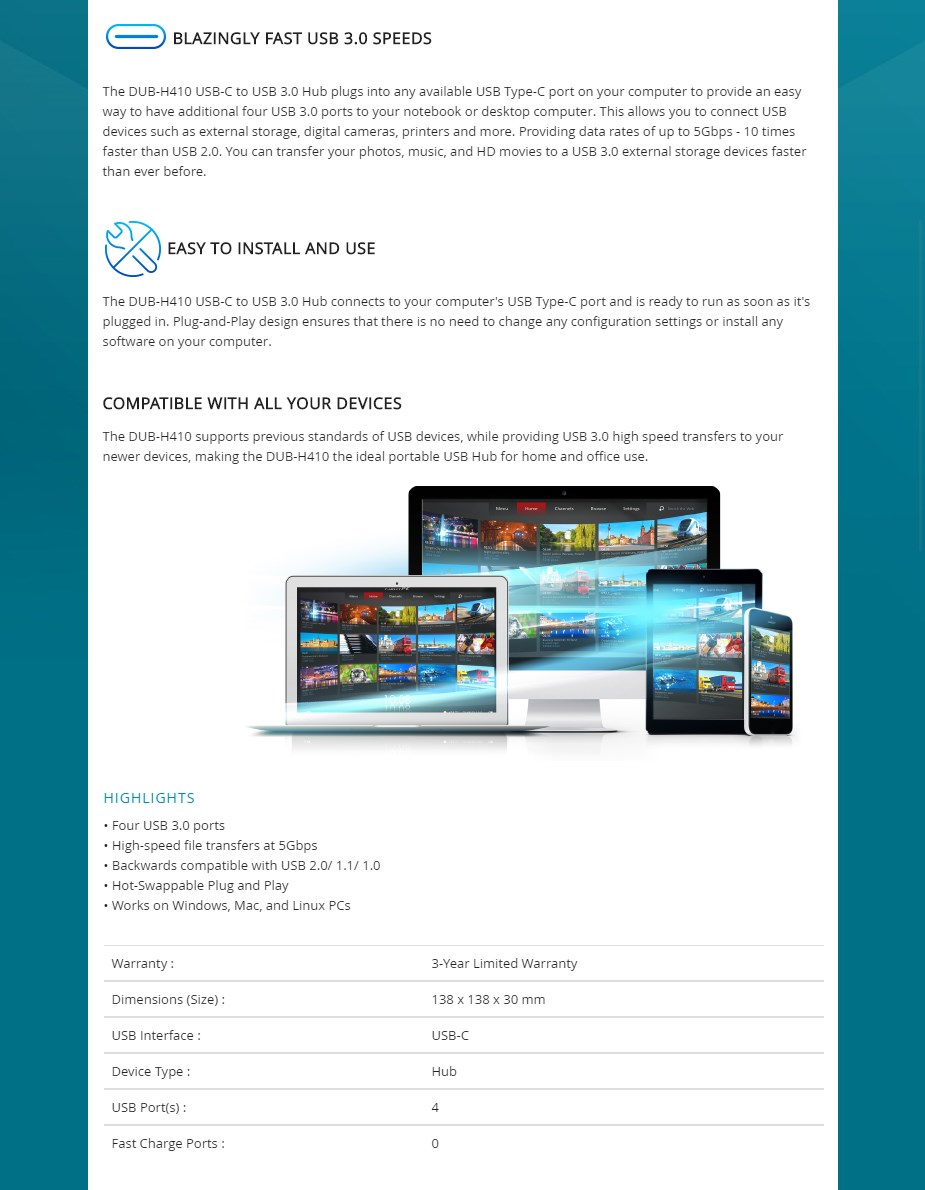 D-Link DUB-H410 USB-C to 4-Port USB 3.0 Hub - Overview 1