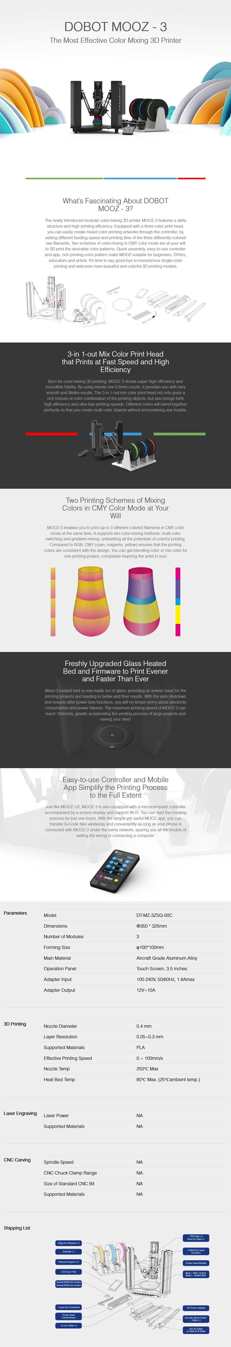 DOBOT Mooz-3z Triple Filament 3D Printer - Overview 1