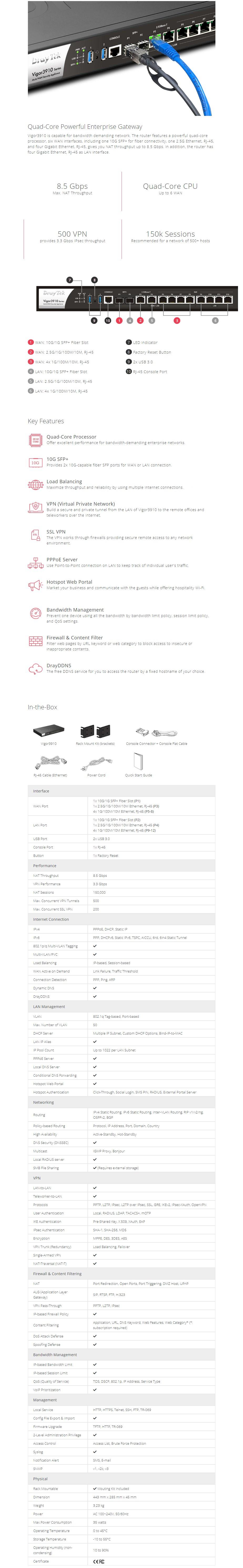 DrayTek Vigor 3910 8 Port WAN Gigabit Broadband Router with 2 SFP+ - Overview 1