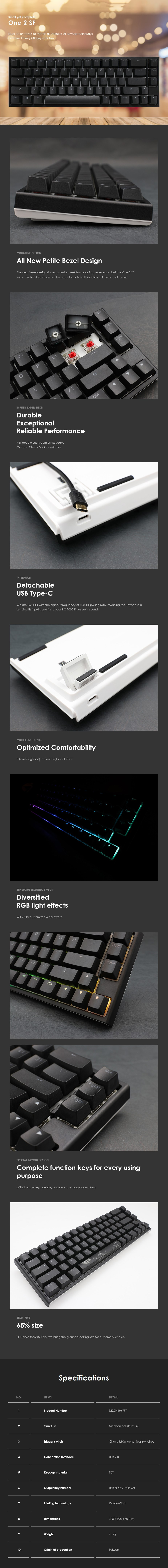 Ducky One 2 SF RGB Mechanical Keyboard - Cherry MX Silver - Overview 1