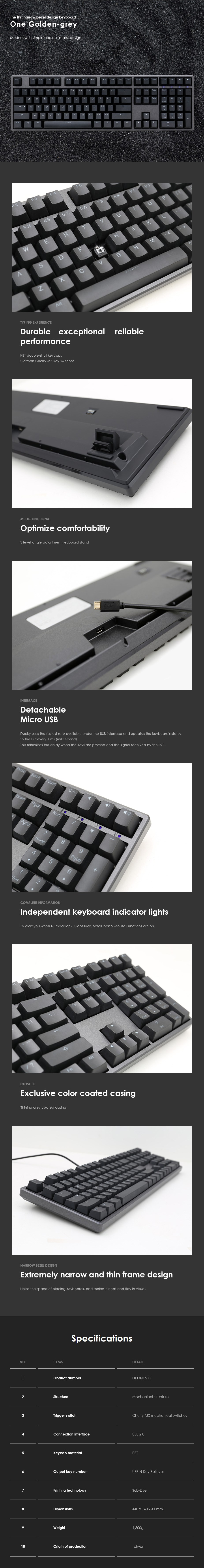 Ducky One Mechanical Keyboard - Cherry MX Brown (PBT Dye-Sub) - Overview 1