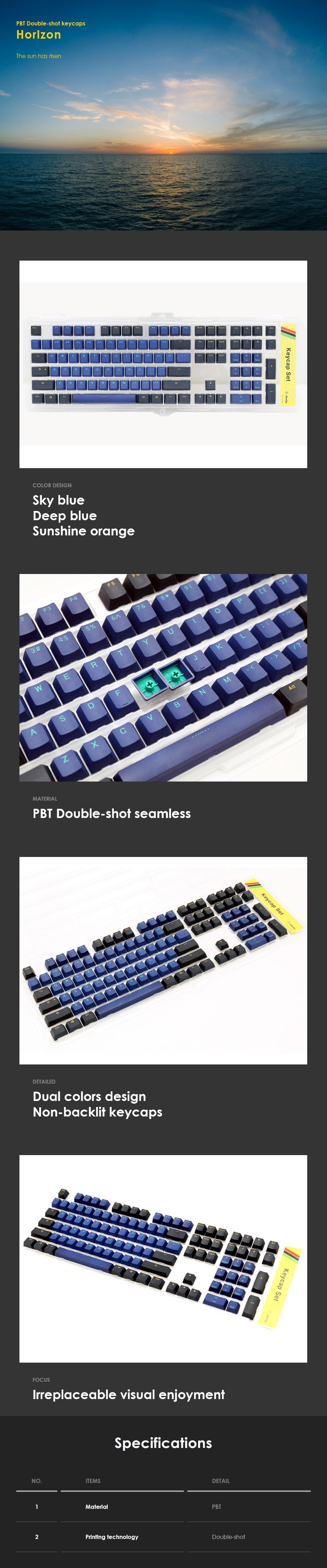 Ducky PBT Doubleshot 108-Key Keycap Set - Horizon - Overview 1