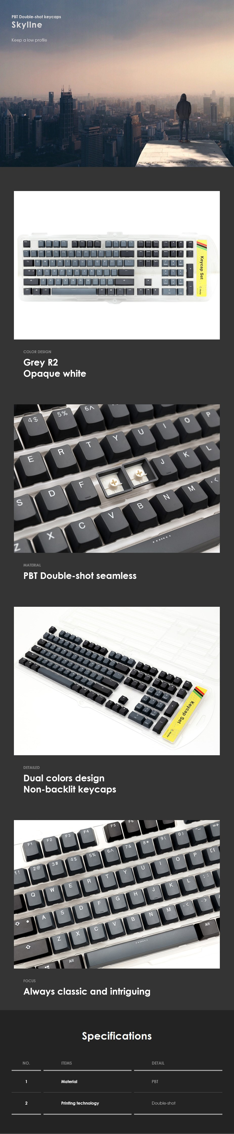 Ducky PBT Doubleshot 108-Key Keycap Set - Skyline - Overview 1
