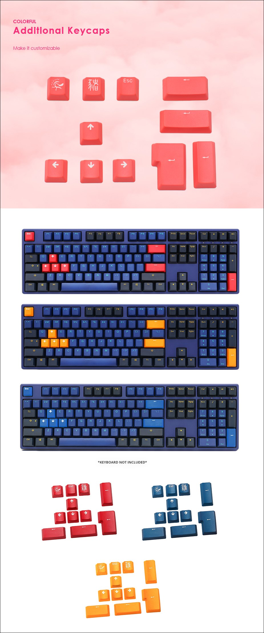 Ducky PBT Doubleshot 11 Keycap Set - Carmine Red - Overview 1