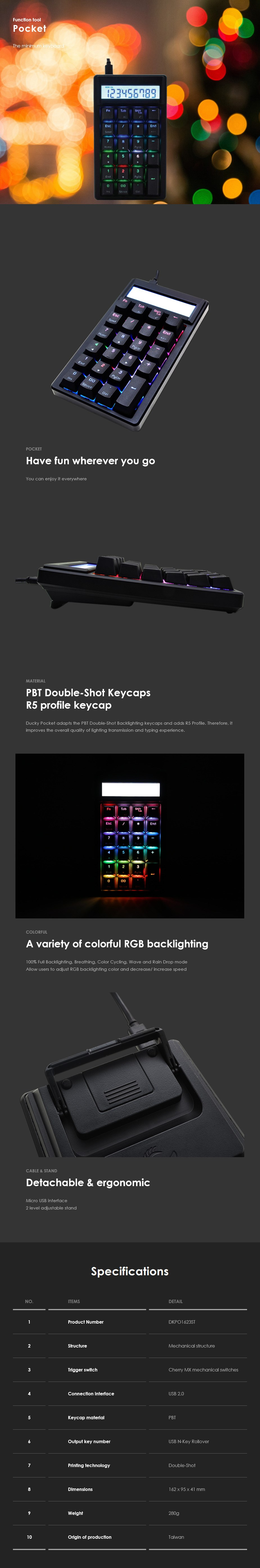 Ducky Pocket RGB LED Mechanical Numpad - Cherry MX Brown - Overview 1