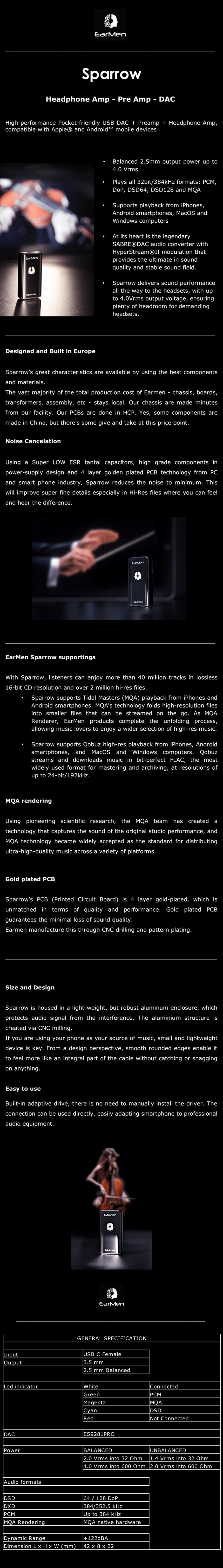 EarMen Sparrow Preamp Headphone AMP - USB DAC - Overview 1
