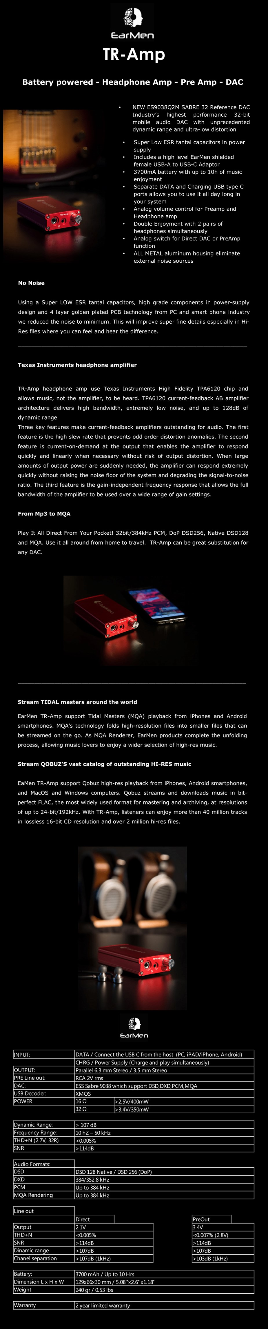 EarMen TR-Amp Preamp Headphone AMP - Battery-Powered USB DAC - Overview 1