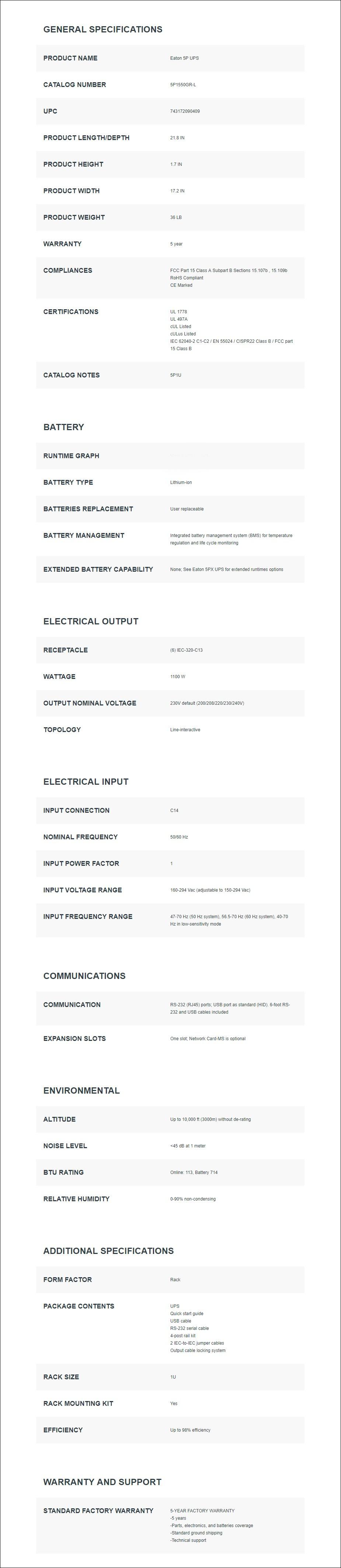 Eaton 5P 1550VA / 1100W 1U Rackmount Line-Interactive UPS - Overvview 1