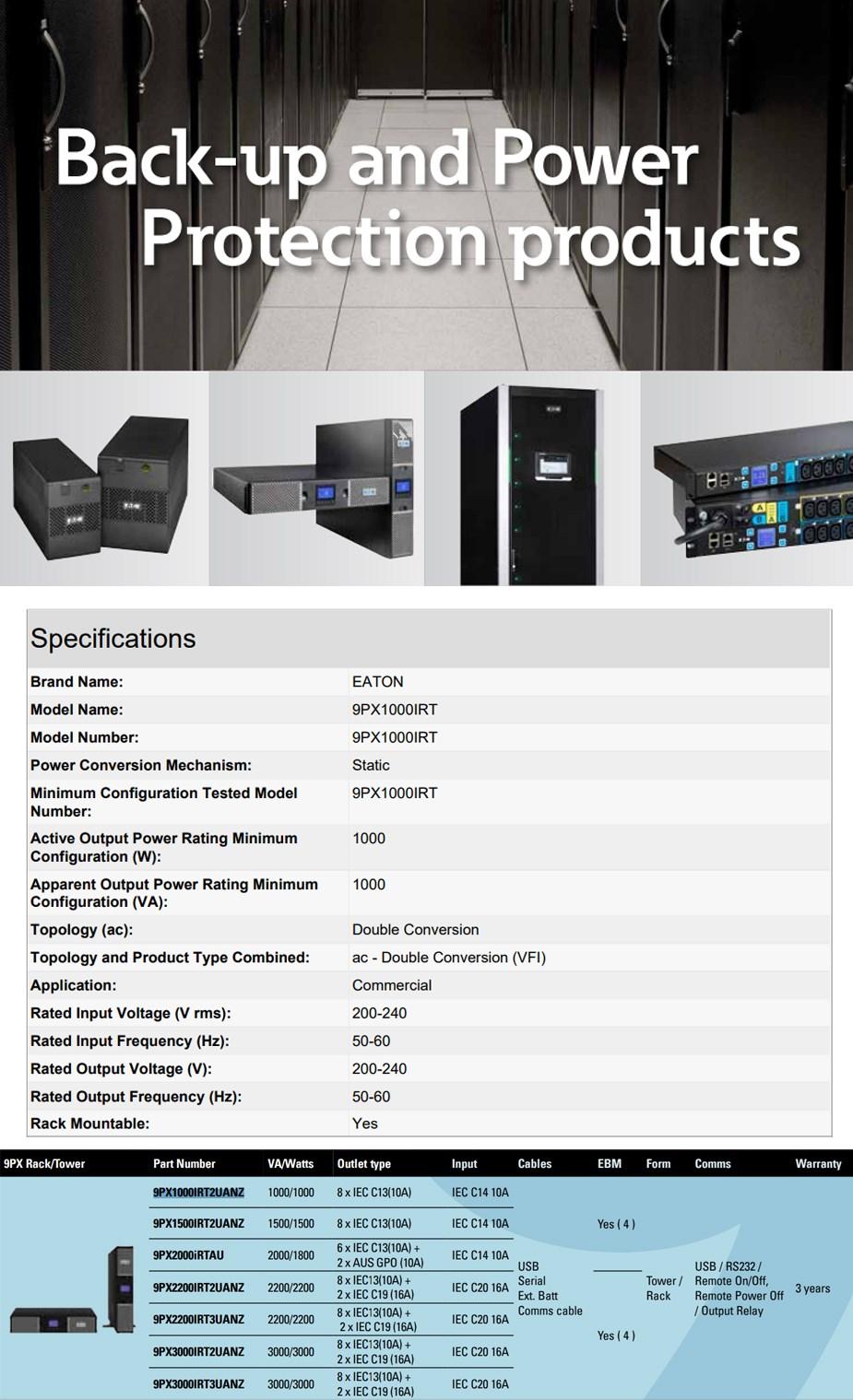 Eaton 9PX 1000VA / 1000W 2U Rack/Tower UPS - Rail Kit Included - Overview 1