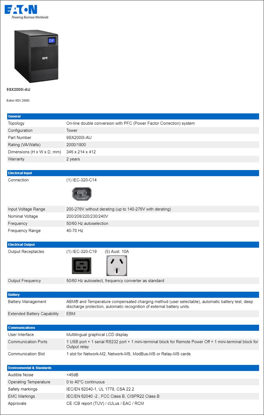 Eaton 9SX 2000VA / 1800W On-Line Tower UPS - Overview 1
