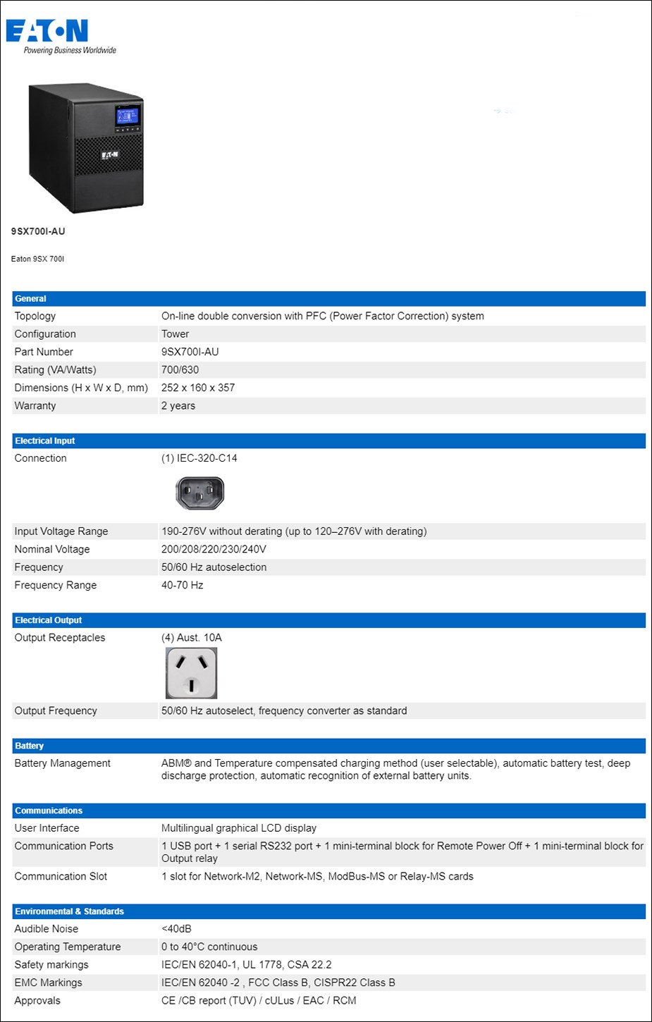 Eaton 9SX 700VA / 630W On-Line Tower UPS - Overview 1