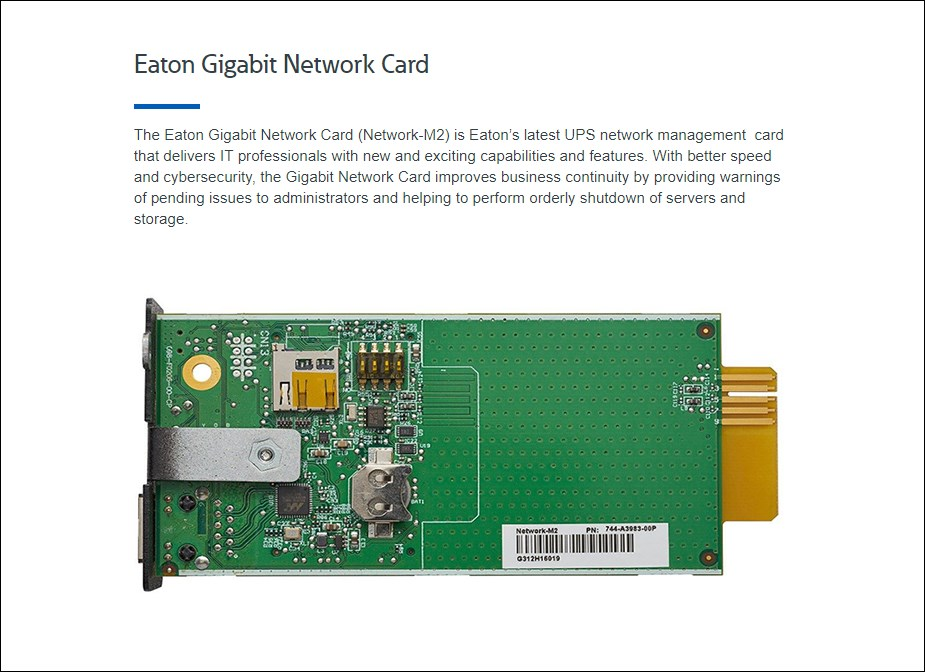 Eaton Network-M2 Gigabit Ethernet Network Card - Overview 1