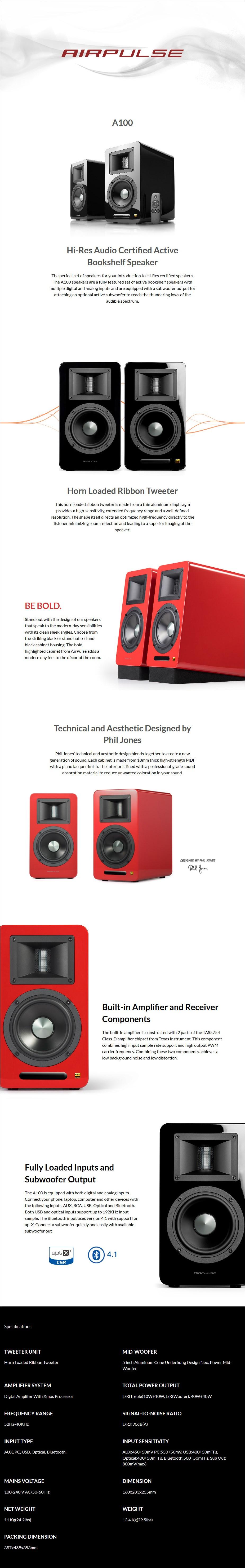 Edifier Airpulse A100 Hi-Res Active Bookshelf Speaker - Black - Overview 1