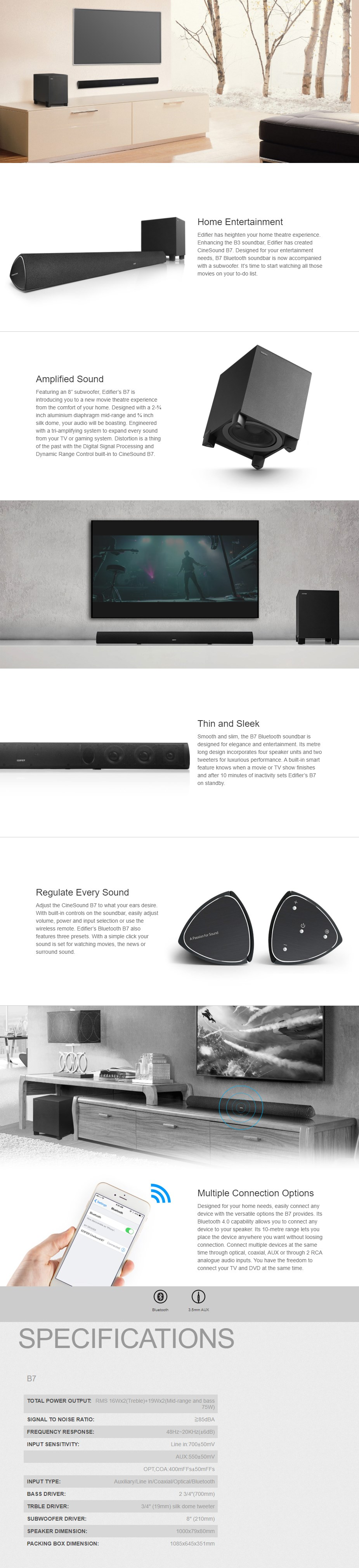 Edifier B7 CineSound Soundbar Speaker System with Wireless Bluetooth Subwoofer - Overview 1