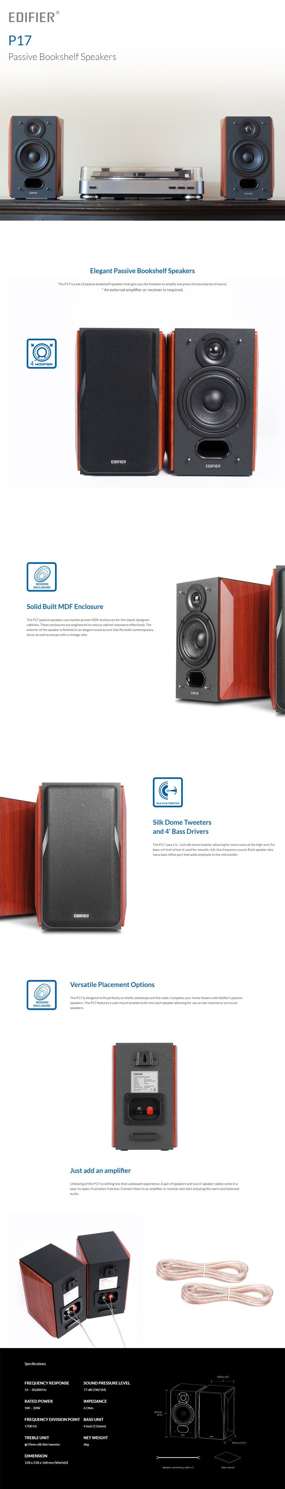 Edifier P17 Passive Bookshelf Speakers - Overview 1