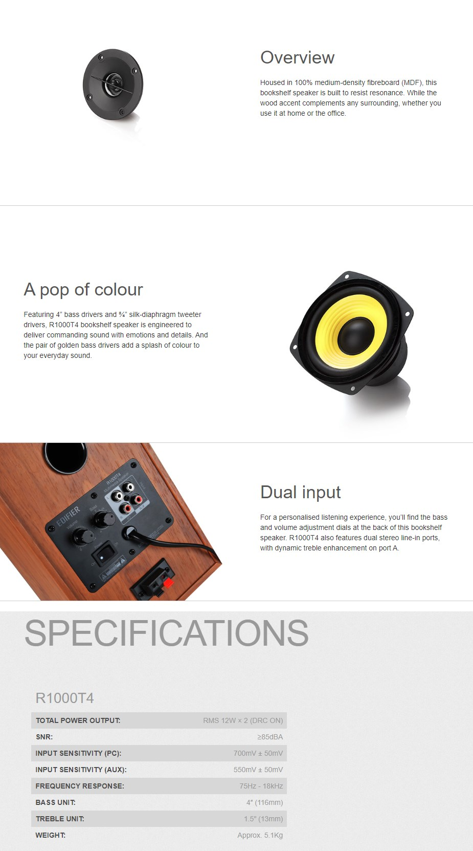 Edifier R1000T4 2.0 Bookshelf Speaker - Brown - Overview 1