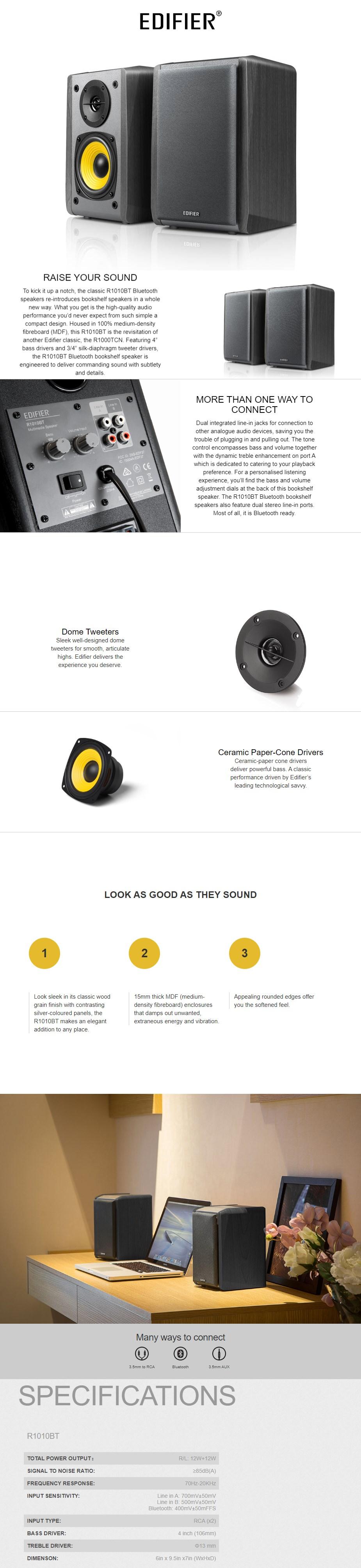 Edifier R1010BT 2.0 Bluetooth Studio Speakers - Brown - Overview 1