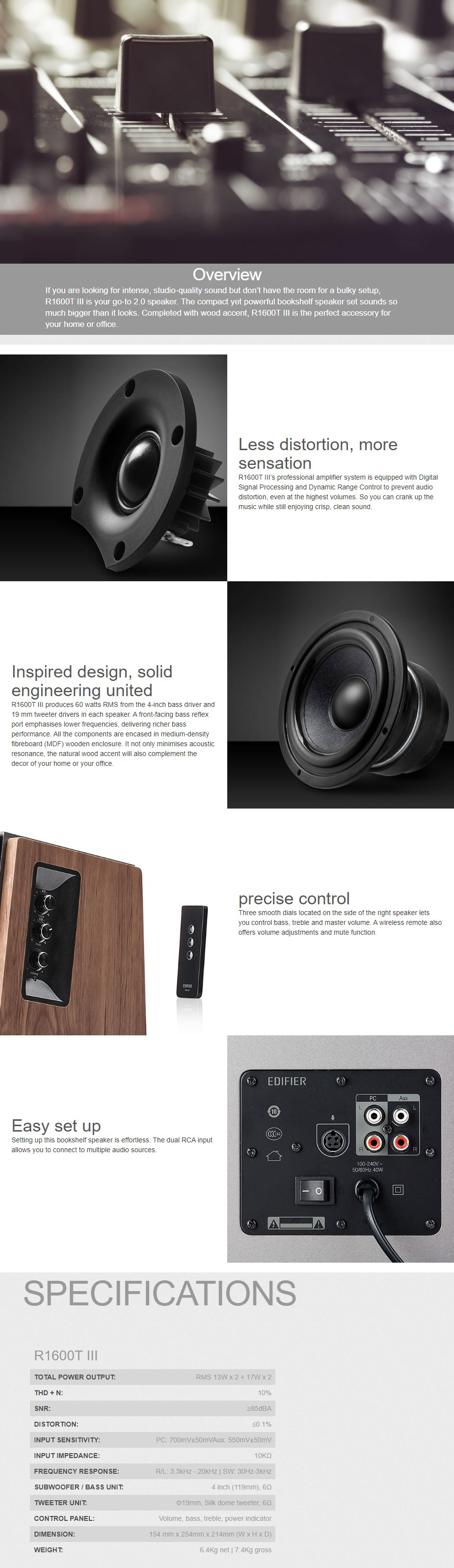 Edifier R1850DB Active 2.0 Bluetooth Speakers with Remote - Black Wood - Overview 1
