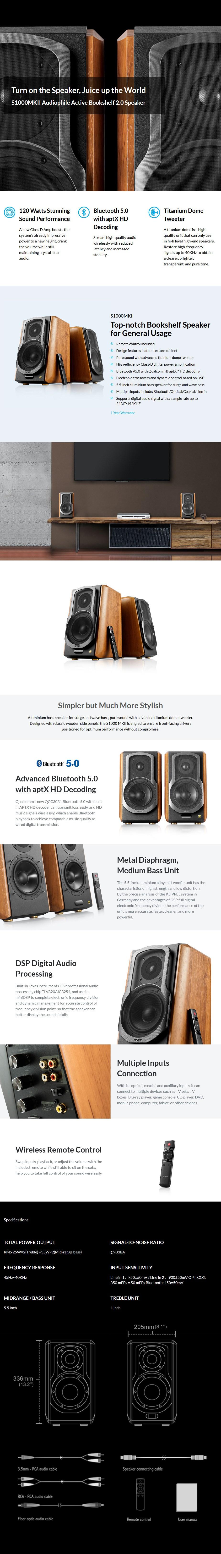 Edifier S1000MKIII Hi-Fi 2.0 Active Bookshelf Bluetooth Speakers - Overview 1