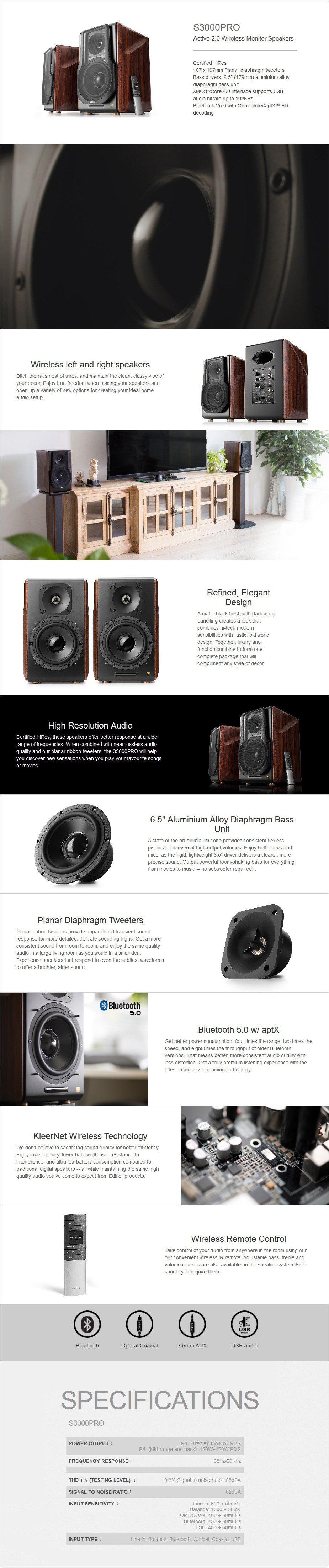 Edifier S3000PRO 2.0 Lifestyle Active Bluetooth Hi-Res Studio Speakers - Overview 1