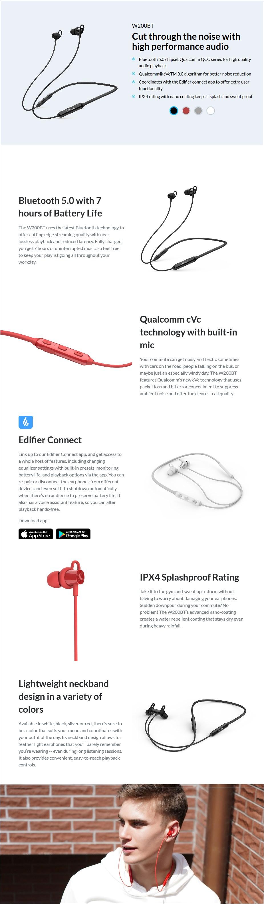 Edifier W200BT Bluetooth Sports Earphones - Black - Overview 1