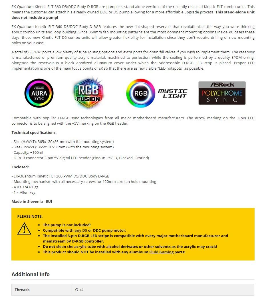 EKWB EK- Quantum Kinetic FLT 360 D5/DDC Body D-RGB - Plexi - Overview 1