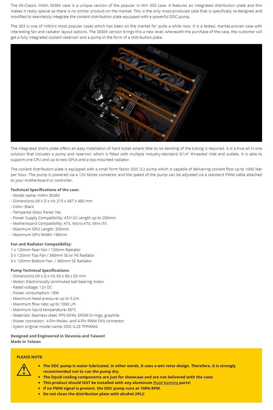 EKWB EK-Classic InWin 303EK ATX Mid-Tower Tempered Glass Case - Black - Overview 1