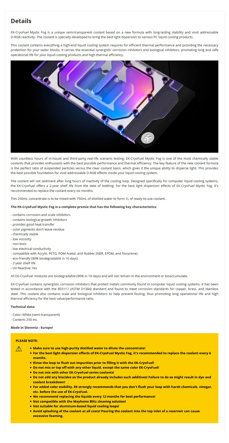 EKWB EK-CryoFuel Mystic Fog Concentrate 250mL Coolant - Overview 1