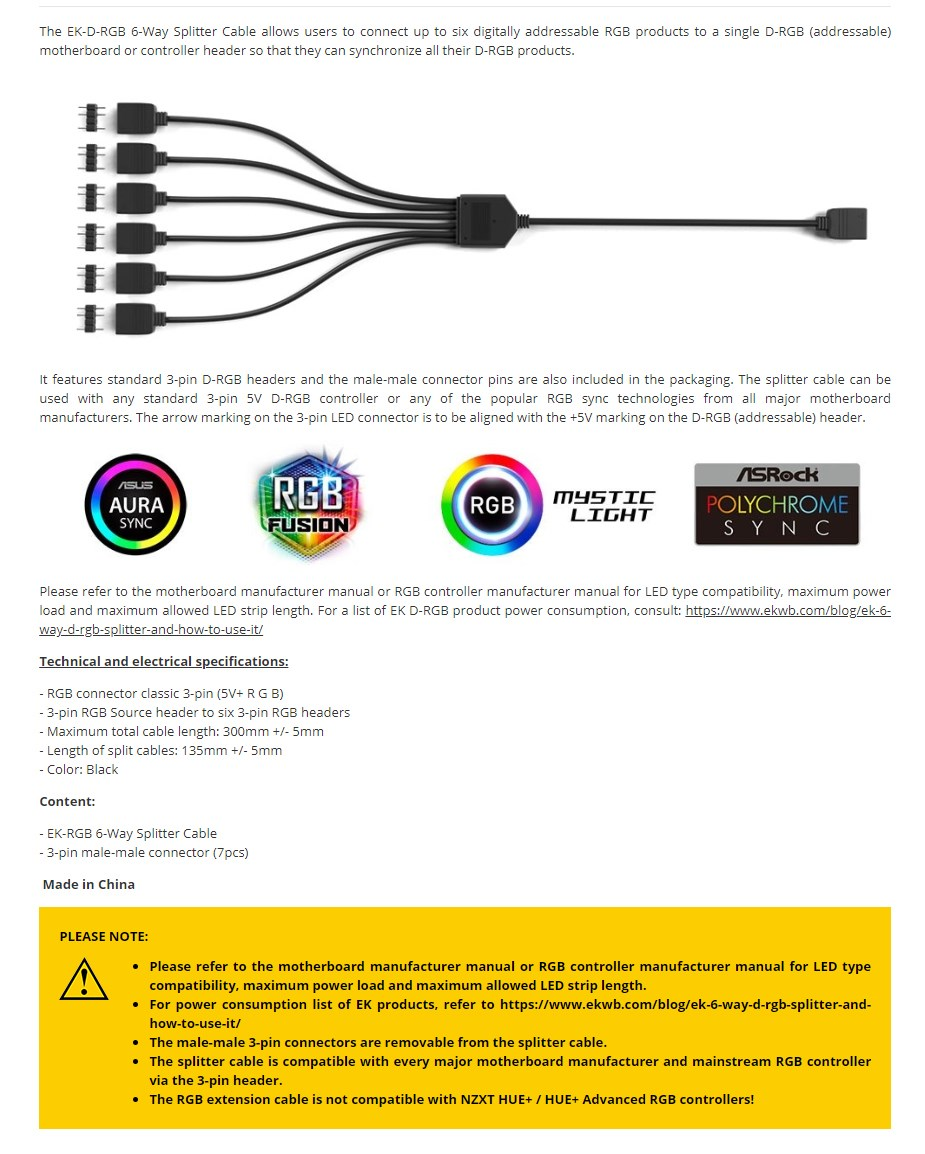EKWB EK-D-RGB 6-Way Splitter Cable - Overview 1