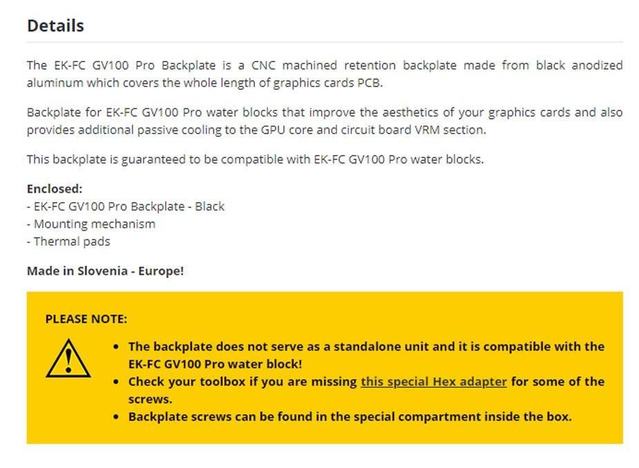 EKWB EK-FC GV100 Pro Backplate  - Black - Overview 1
