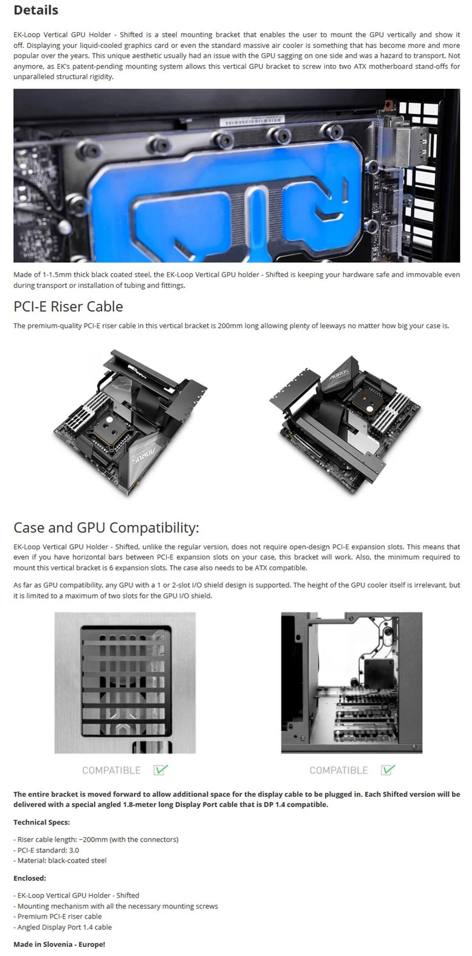 EKWB EK-Loop Vertical GPU Holder - Shifted - Desktop Overview 1