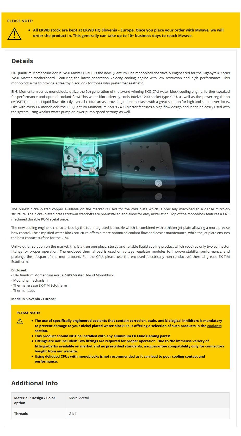EKWB EK-Momentum RGB Quantum Line Monoblock for Gigabyte Z490 AORUS Master D-RGB - Overview 1