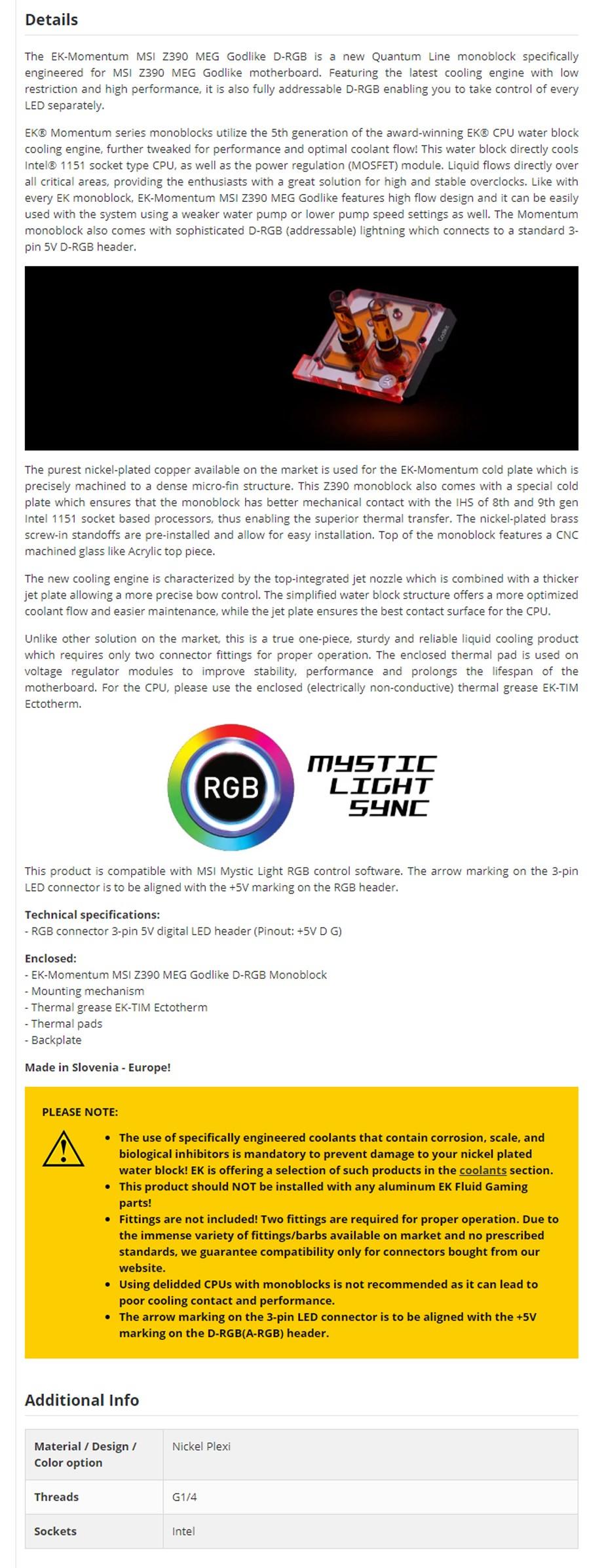 EKWB EK-Momentum RGB Quantum Line Monoblock for MSI Z390 Godlike D-RGB - Overview 1
