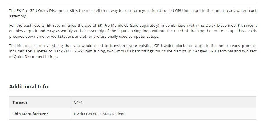 EKWB EK-Pro GPU Water Block Quick Disconnect Kit - Overview 1