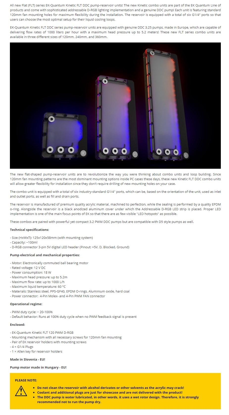 EKWB EK-Quantum Kinetic FLT 120 DDC PWM D-RGB Plexi Reservoir Pump Combo - Overview 1