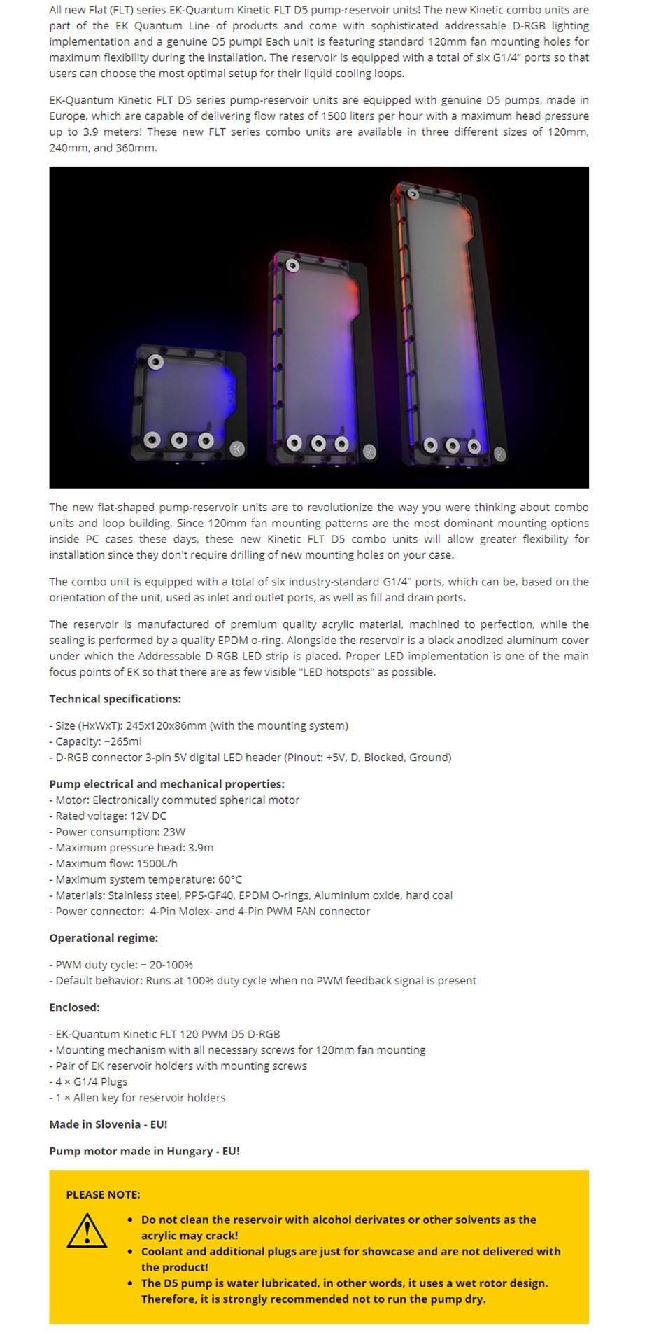 EKWB EK-Quantum Kinetic FLT 240 D5 PWM D-RGB Plexi Reservoir Pump Combo - Overview 1