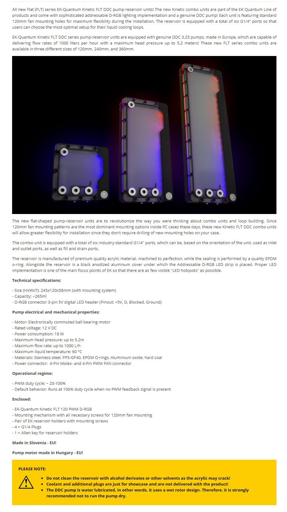EKWB EK-Quantum Kinetic FLT 240 DDC PWM D-RGB Plexi Reservoir Pump Combo - Overview 1