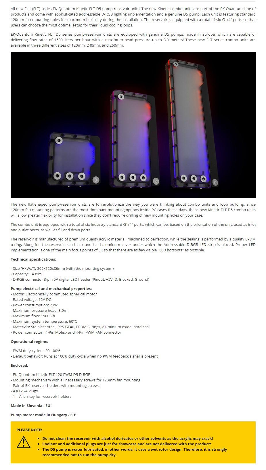 EKWB EK-Quantum Kinetic FLT 360 D5 PWM D-RGB Reservoir Pump Combo - Overview 1