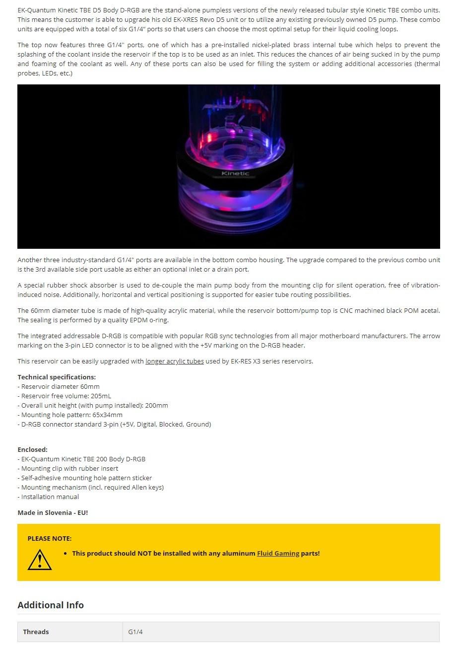 EKWB EK-Quantum Kinetic TBE 200 D5 Body D-RGB Reservoir - Acetal