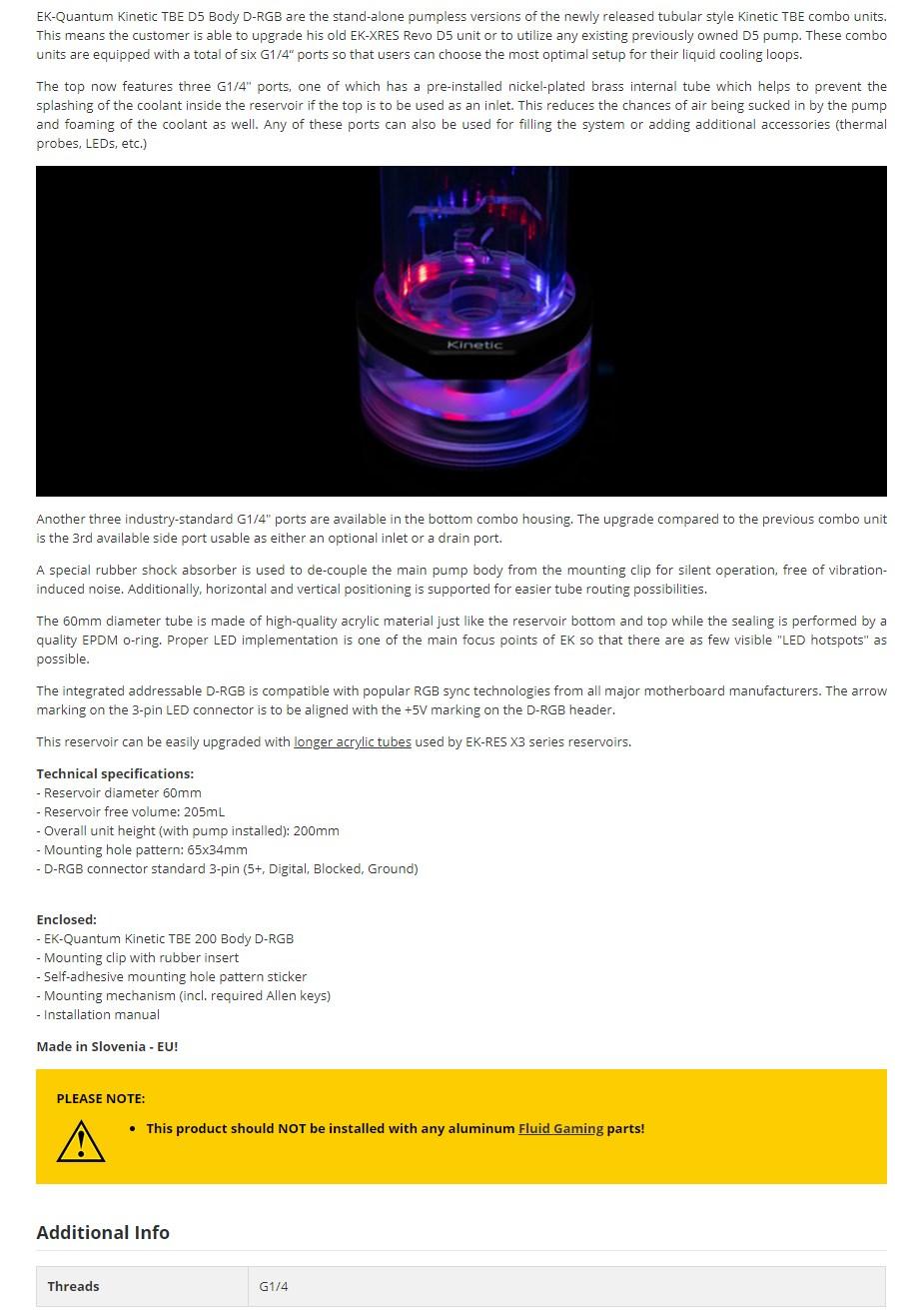 EKWB EK-Quantum Kinetic TBE 200 D5 Body D-RGB Reservoir - Plexi - Overview 1