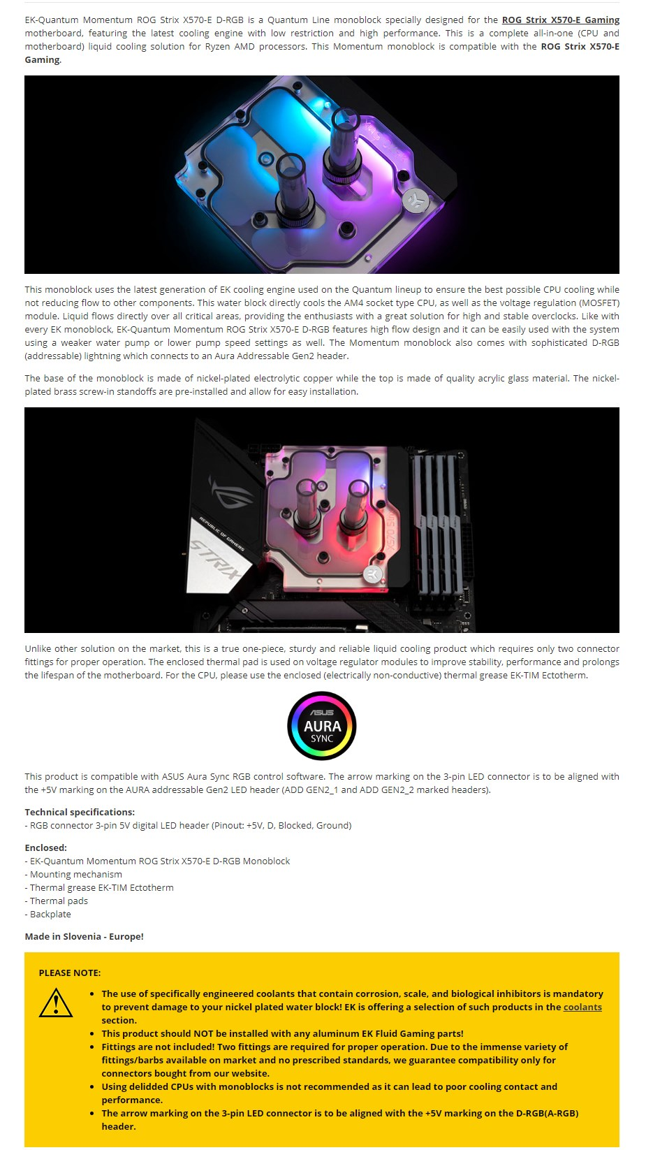 EKWB EK-Quantum Momentum ROG Strix X570-E D-RGB Plexi Monoblock - Overview 1