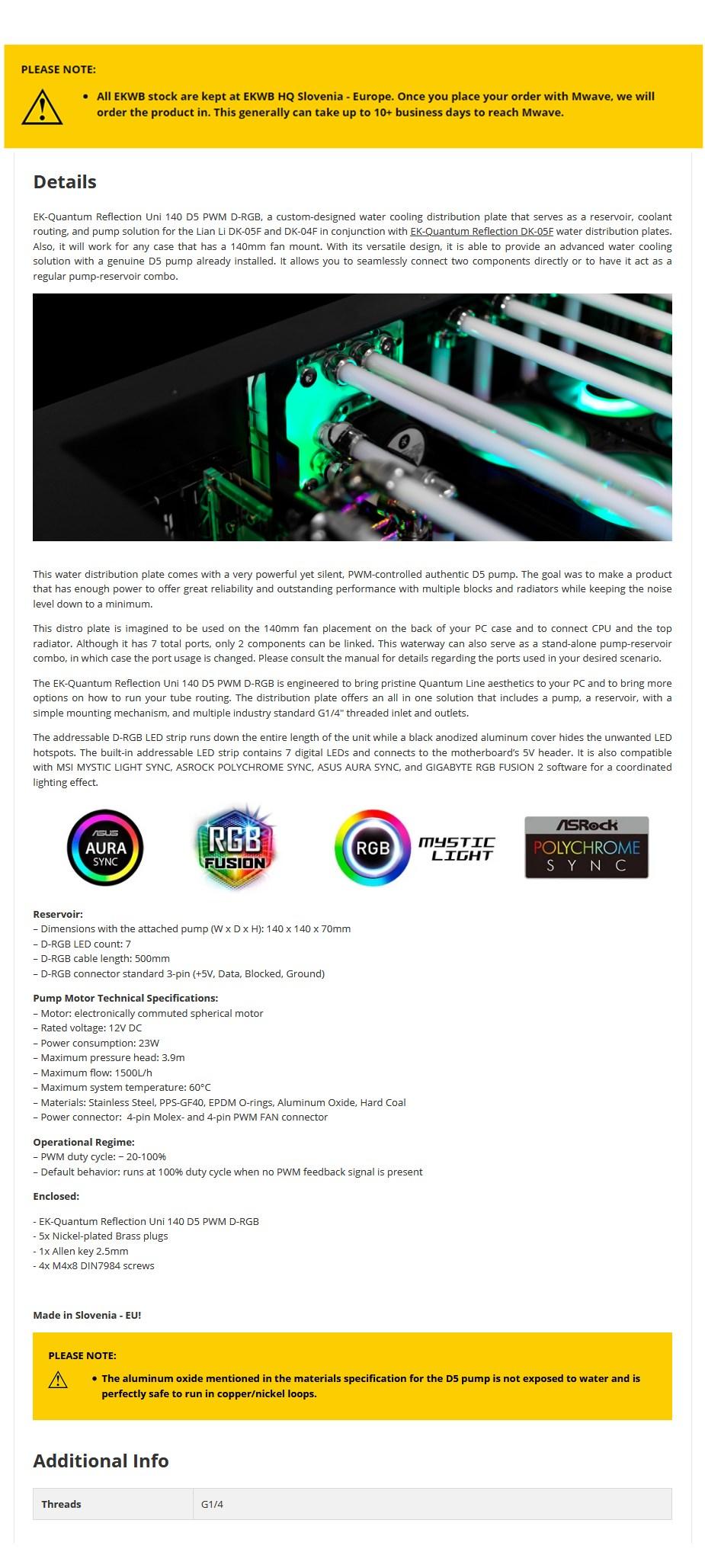 EKWB EK-Quantum Reflection Uni 140 Lian Li D5 PWM D-RGB Cooling Plate - Plexi - Overview 1