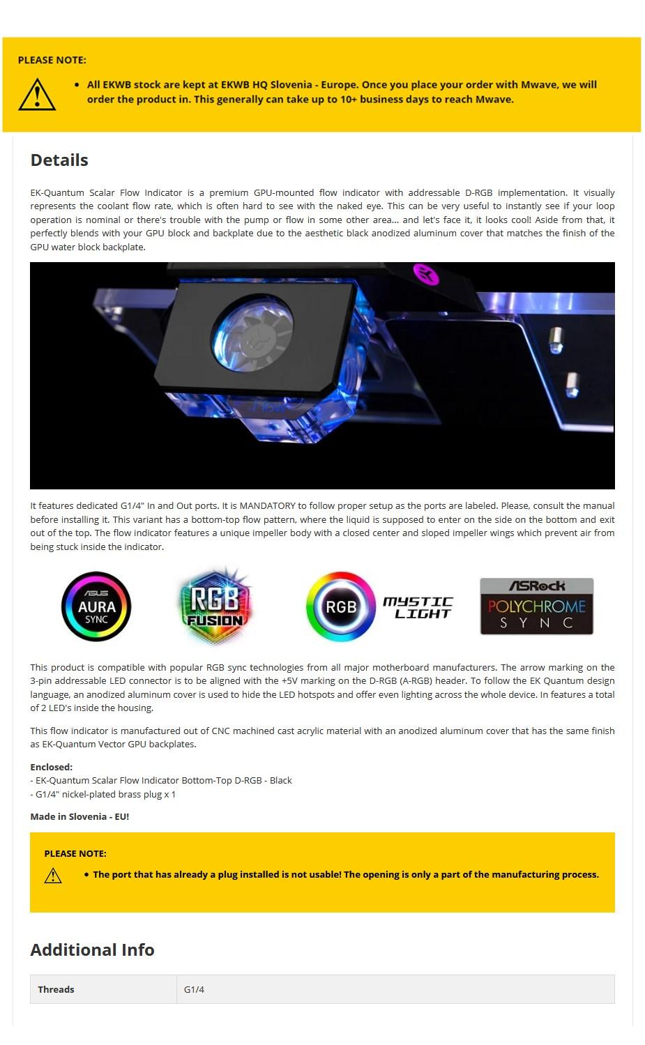 EKWB EK-Quantum RGB Scalar Bottom-To-Top D-RGB Flow Indicator - Overview 1