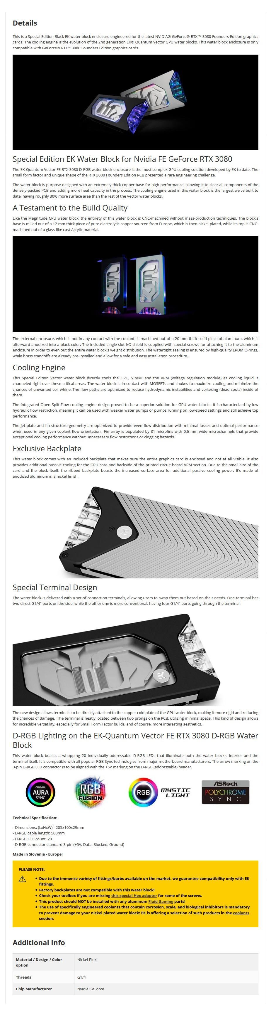 EKWB EK-Quantum Vector D-RGB FE RTX 3080 GPU Water Block Black Special Edition - Overview 1
