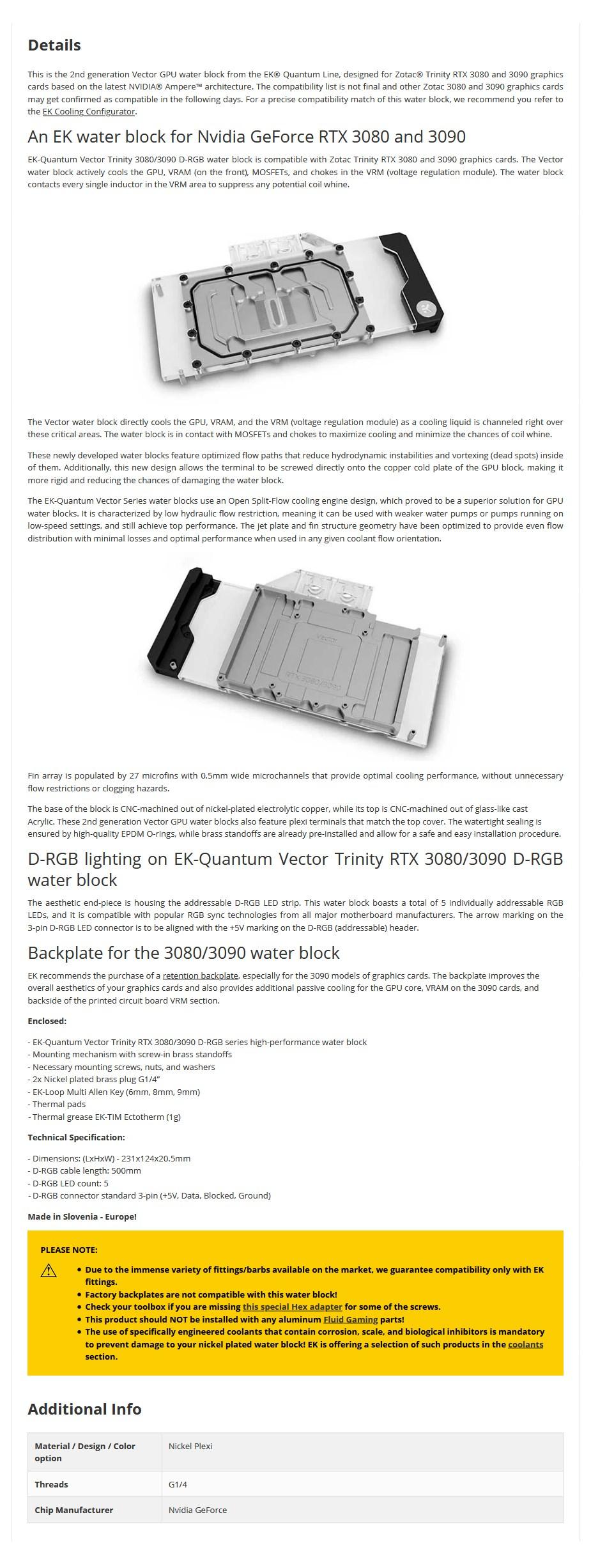 EKWB EK-Quantum Vector D-RGB Trinity 3080/3090 GPU Water Block - Nickel + Plexi - Overview 1